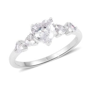 Simulated White Diamond Sterling Silver Heart Ring